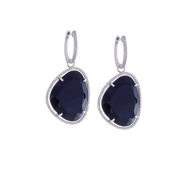 Pavé Diamond & Black Onyx 14K White Gold Dangle Earrings