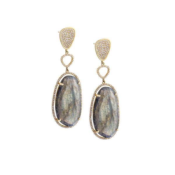 Labradorite, Diamond & 14K Yellow Gold Dangle Earrings