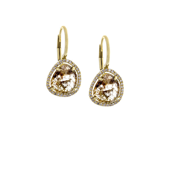 Sliced Diamond, Pavé & 14K Yellow Gold Dangle Earrings