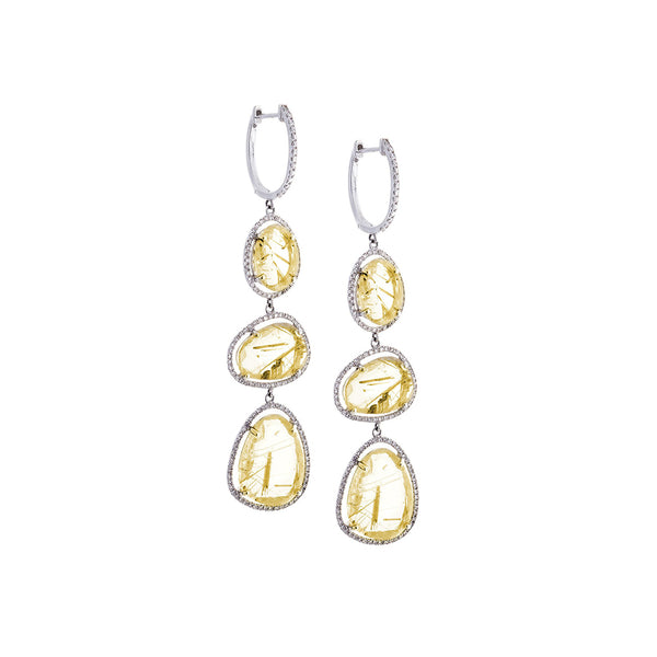 Rutilated Quartz, Diamond & 14K White Gold Triple Drop Earrings - SOLD/CAN BE SPECIAL ORDERED WITH 4-6 WEEKS DELIVERY TIME FRAME