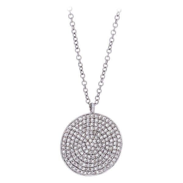 Diamond & 14K White Gold Shield Pendant Necklace
