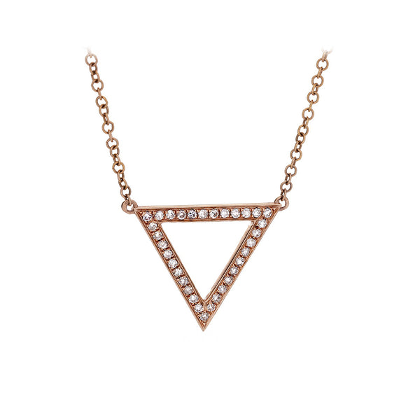 Diamond & 14K Rose Gold Triangle Necklace