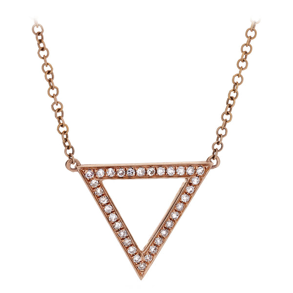 Diamond Rose Gold Triangle Necklace