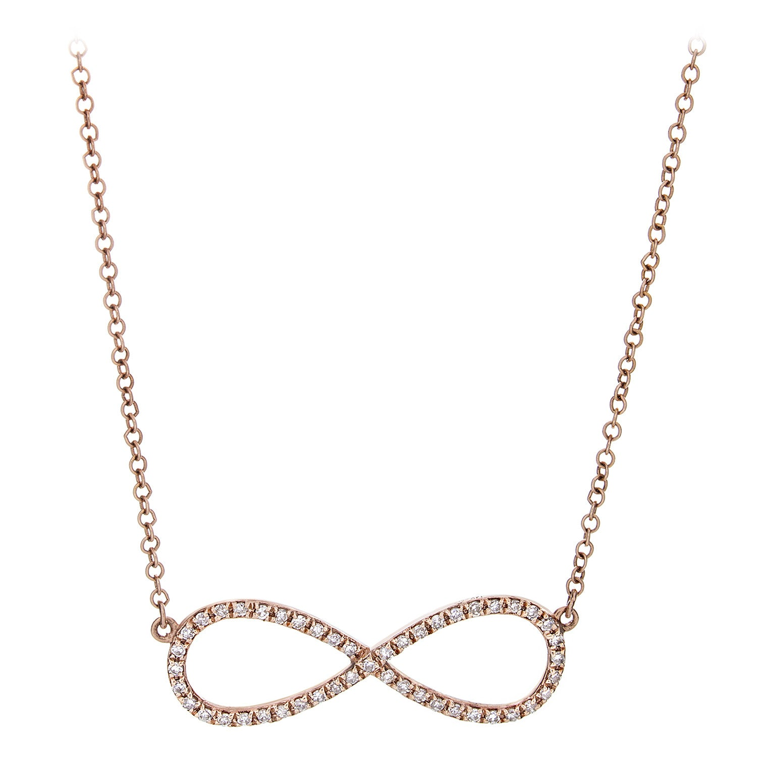 Diamond & 14K Rose Gold Infinity Necklace