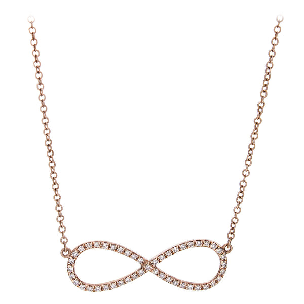 Diamond Infinity Necklace Rose Gold