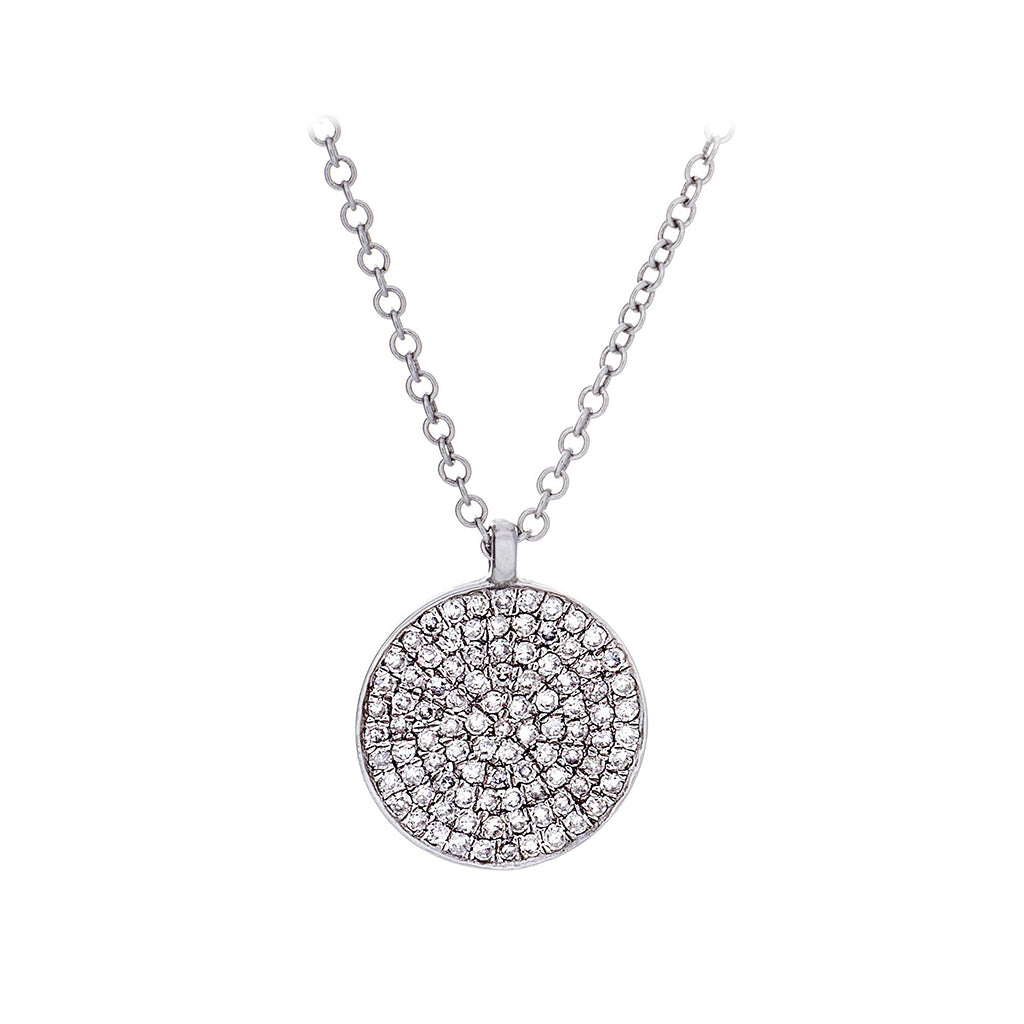 Diamond & 14K White Gold Shield Pendant & Chain