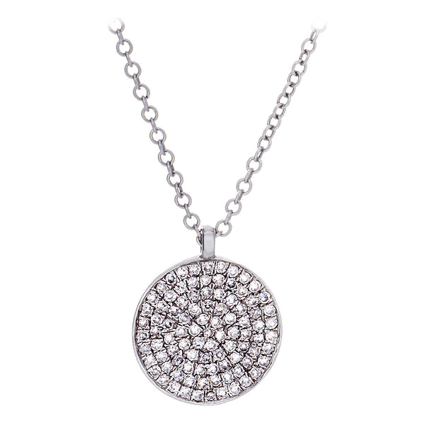Diamond Shield Pendant & Chain in White Gold