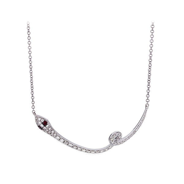 Ruby & Diamond White Gold Serpent Necklace