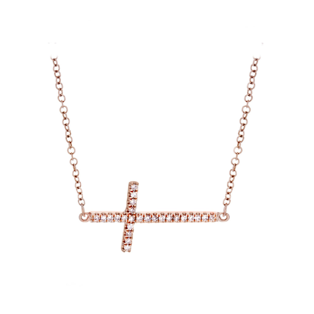 Diamonds & 14K Rose Gold Cross Necklace