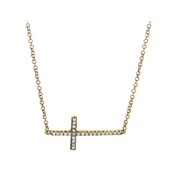 Diamond & 14K Yellow Gold Horizontal Cross Necklace - SOLD/CAN BE SPECIAL ORDERED WITH 4-6 WEEKS DELIVERY TIME FRAME