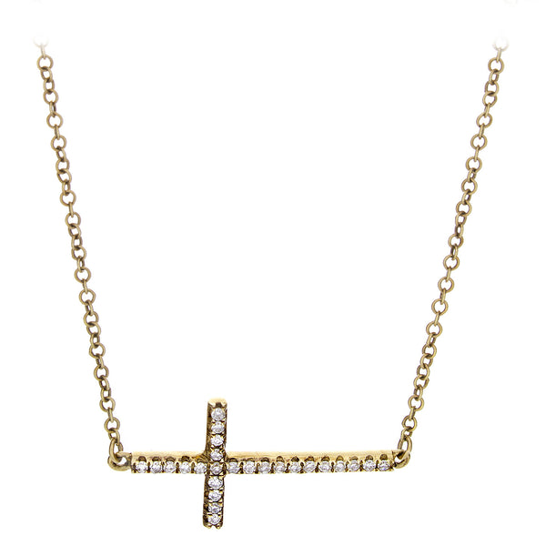 Diamond Horizontal Cross Necklace Yellow Gold