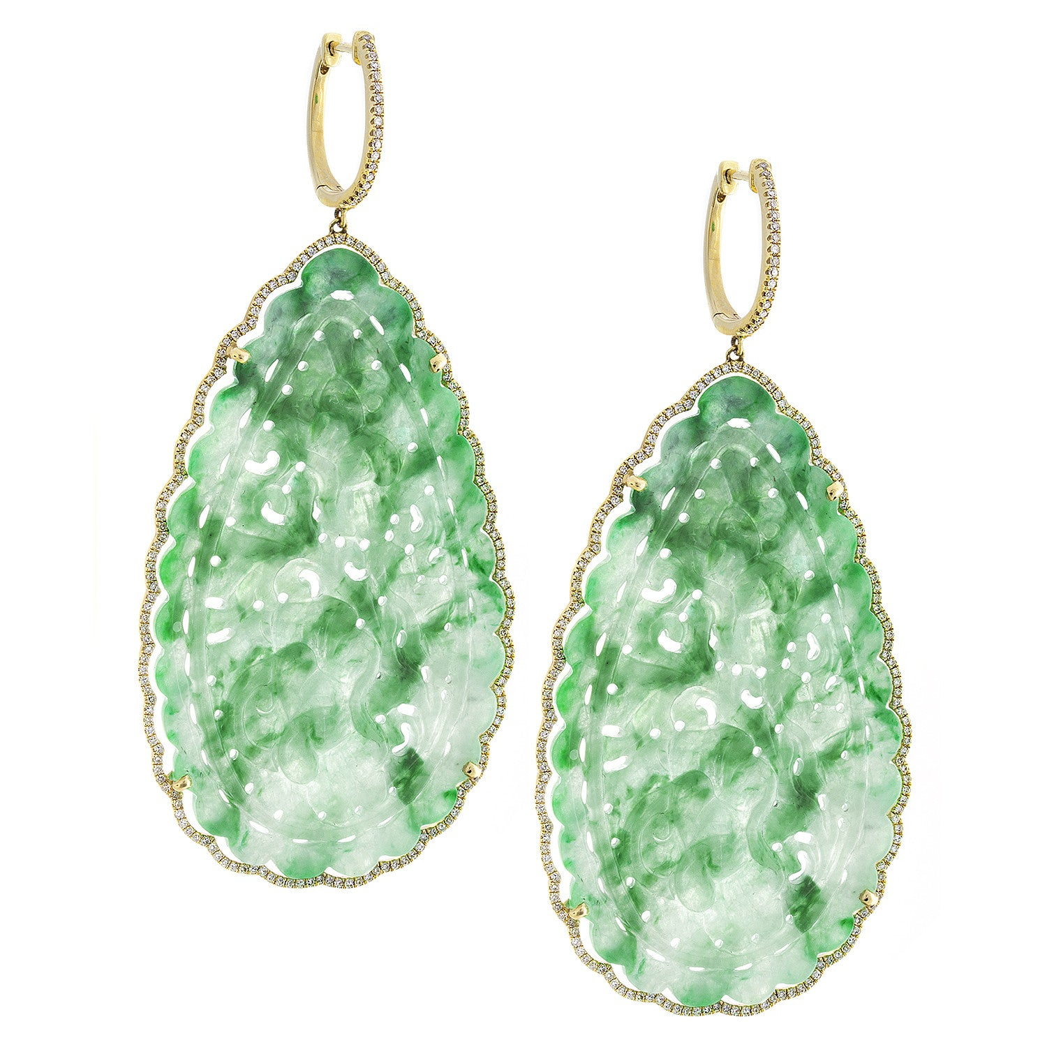 Jade, Diamond & 14K Yellow Gold Drop Earrings - SOLD/CAN BE SPECIAL ORDERED WITH 4-6 WEEKS DELIVERY TIME FRAME