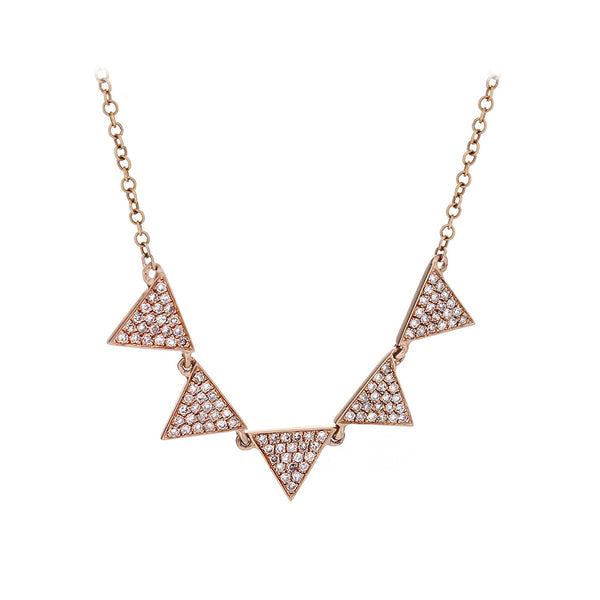 Diamond & 14K Rose Gold Five Pennant Necklace