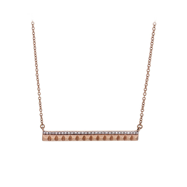 Diamond & 14K Rose Gold Bar Necklace