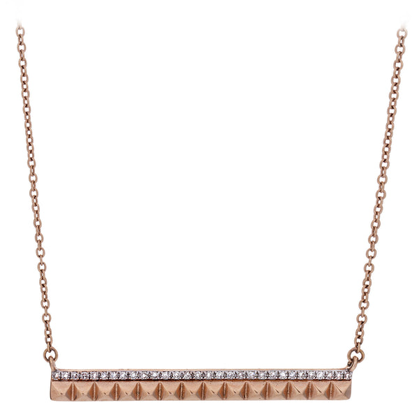 Diamond Stud BarRose Gold Necklace