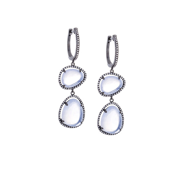 Chalcedony, Diamond & 14K Blackened White Gold Double Drop Earrings - SOLD