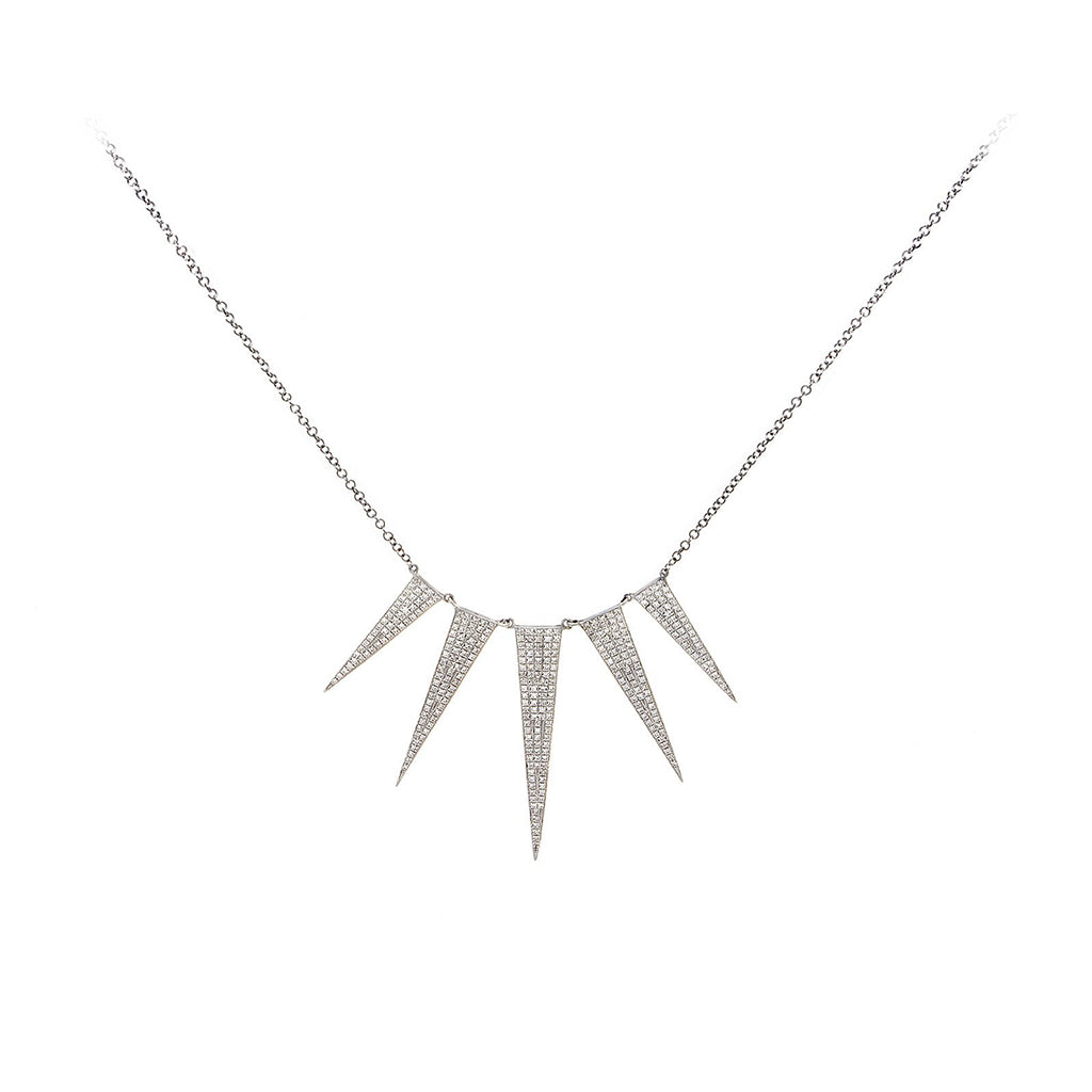 Diamond Pavé & 14K White Gold Five Spike Necklace