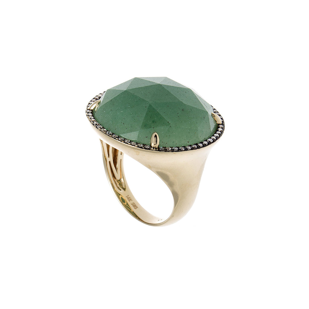 Green Aventurine, Diamond & Yellow Gold Ring
