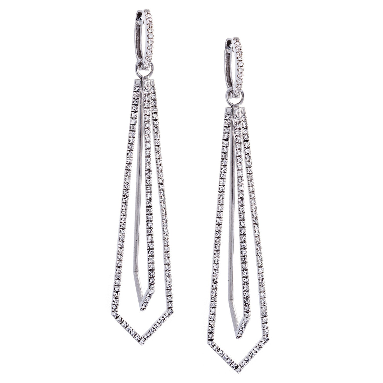 Diamond & 14K White Gold Chevron Dangle Earrings