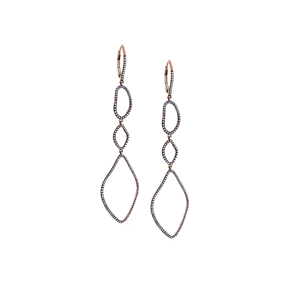 Diamonds & 14K Blackened Rose Gold Dangle Earrings