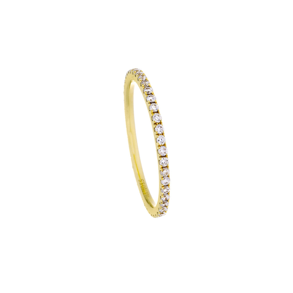 Diamonds & 18K Yellow Gold Sibgle Band Ring