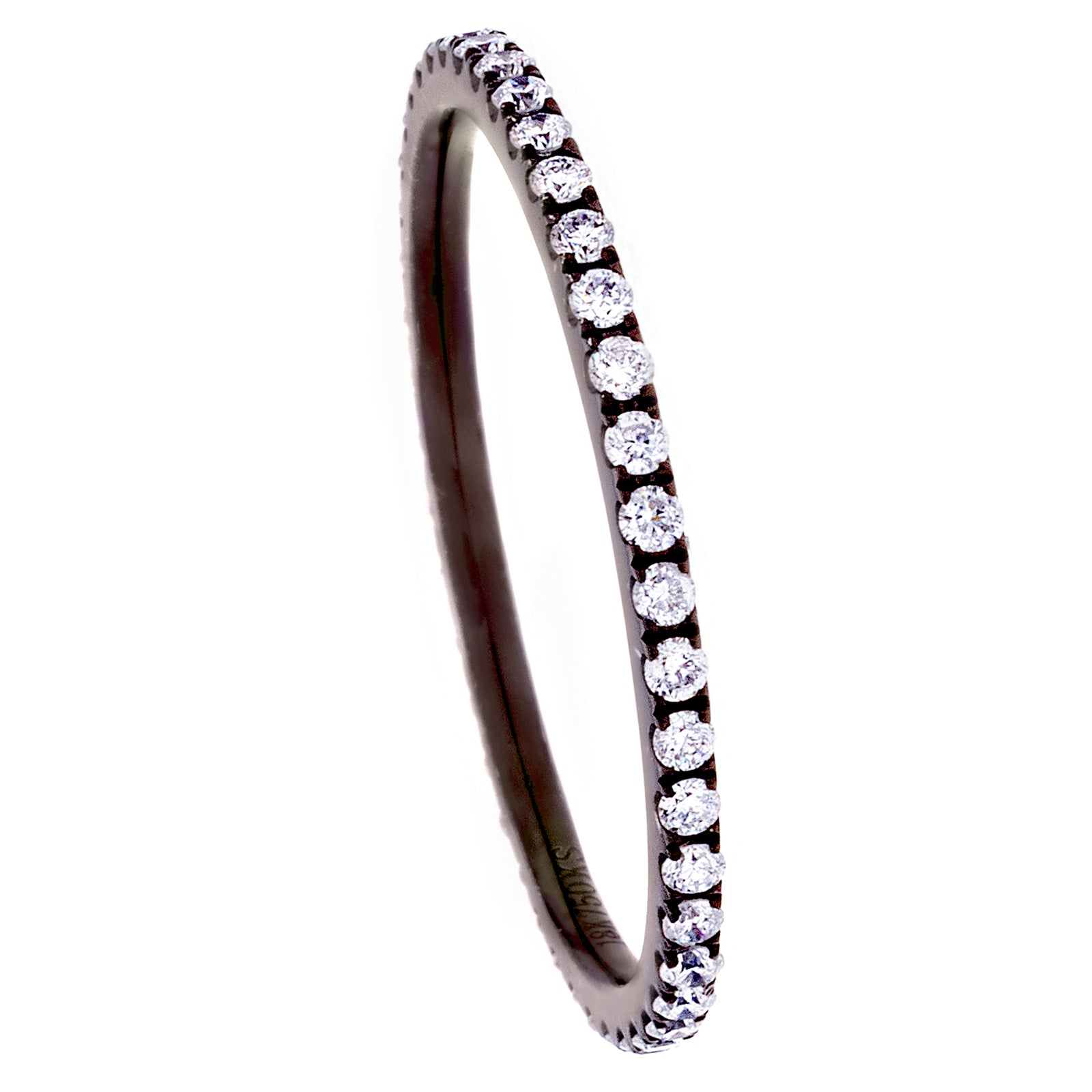 Diamonds & 18K Blackened White Gold Single Band Ring - SOLD