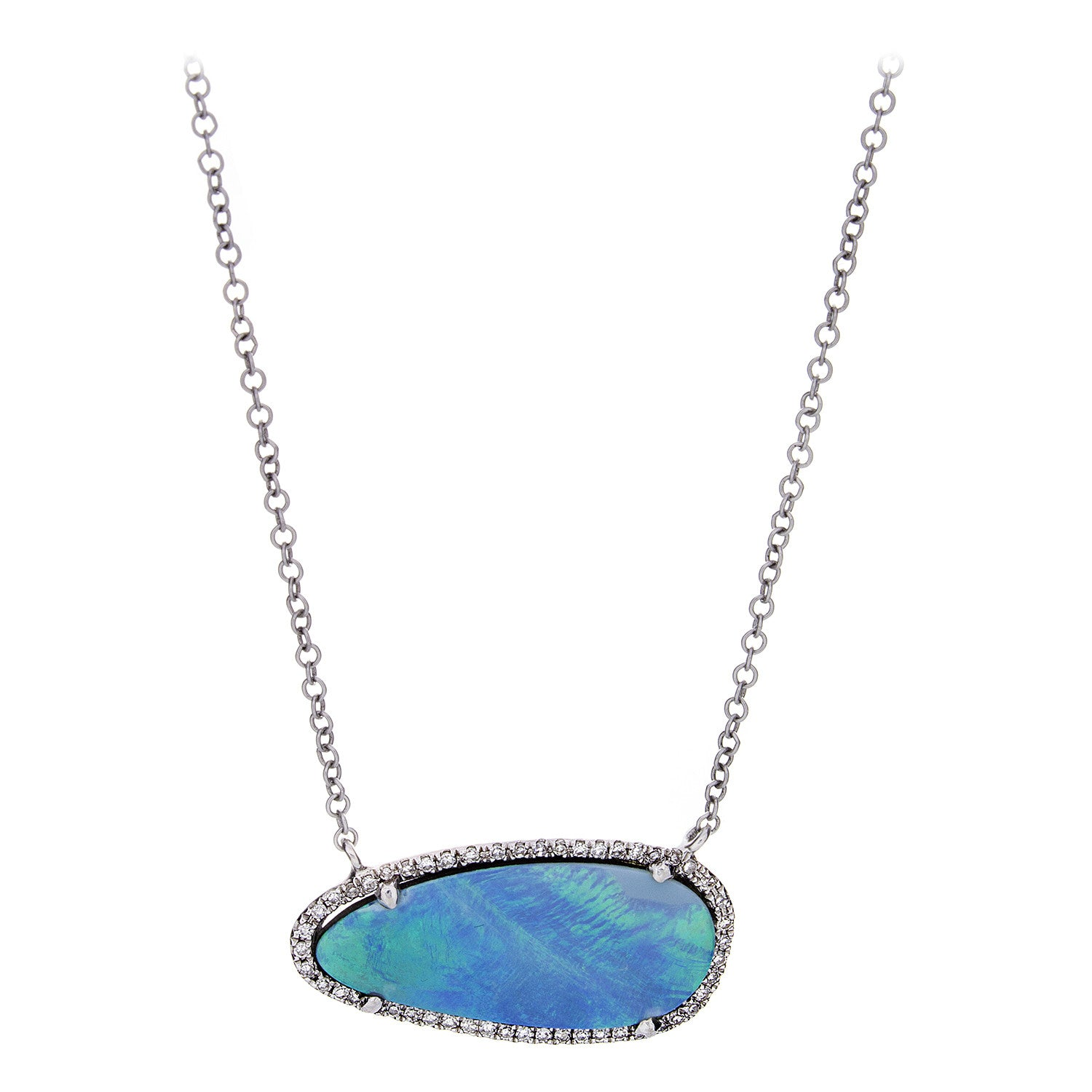 Diamond Opal White Gold Necklace - SOLD/CAN BE SPECIAL ORDERED WITH 4-6 WEEKS DELIVERY TIME FRAME