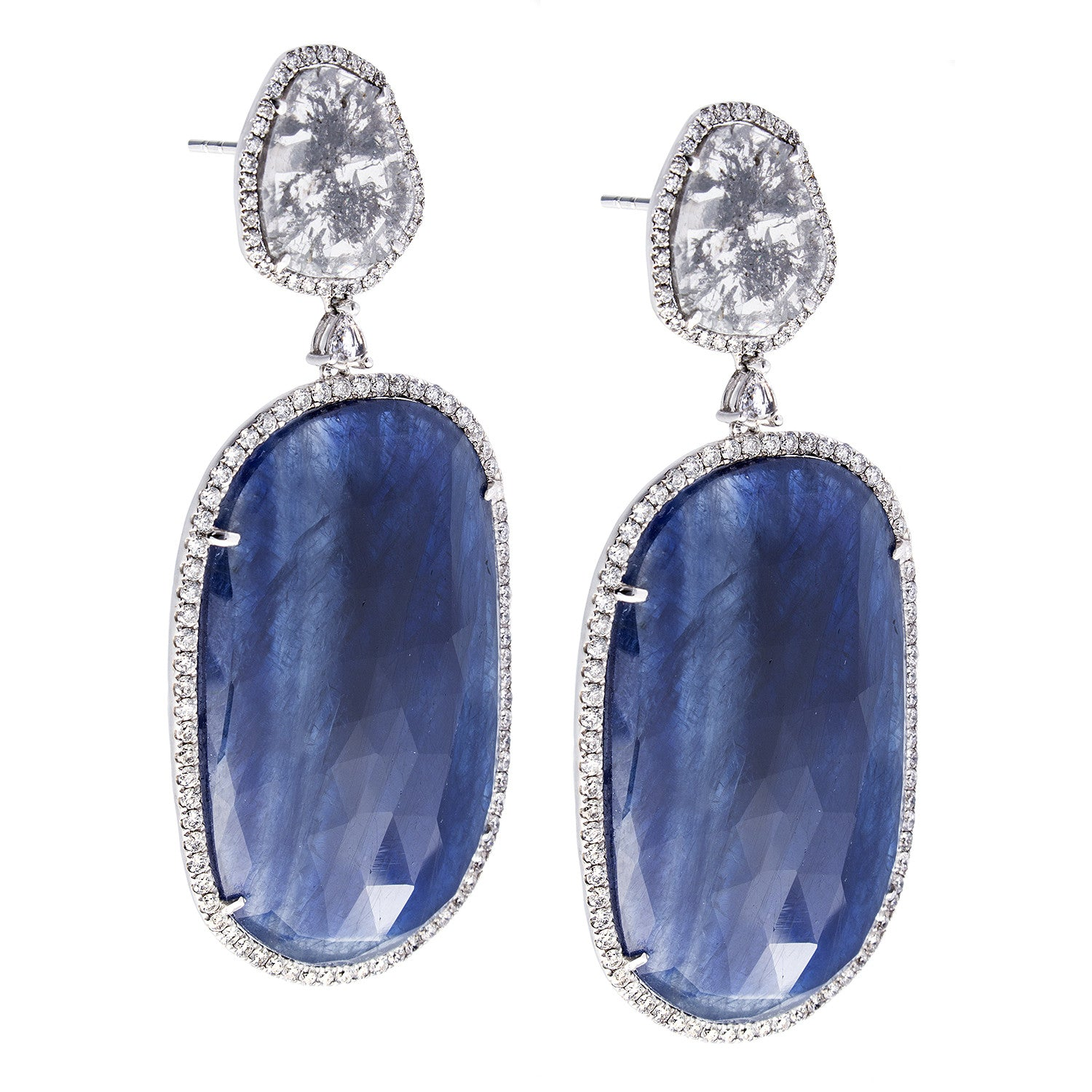 Sapphire, Diamond & 18K White Gold Drop Earrings