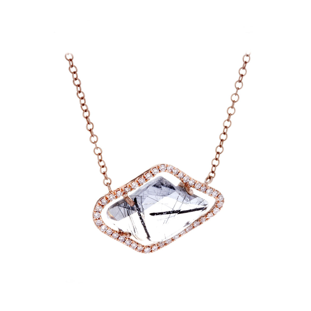 Diamonds, Ritulated Quartz & 14K Rose Gold Necklace - SOLD/CAN BE SPECIAL ORDERED WITH 4-6 WEEKS DELIVERY TIME FRAME