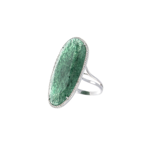 Green Quartz & Pavé Diamond 18K White Gold Ring