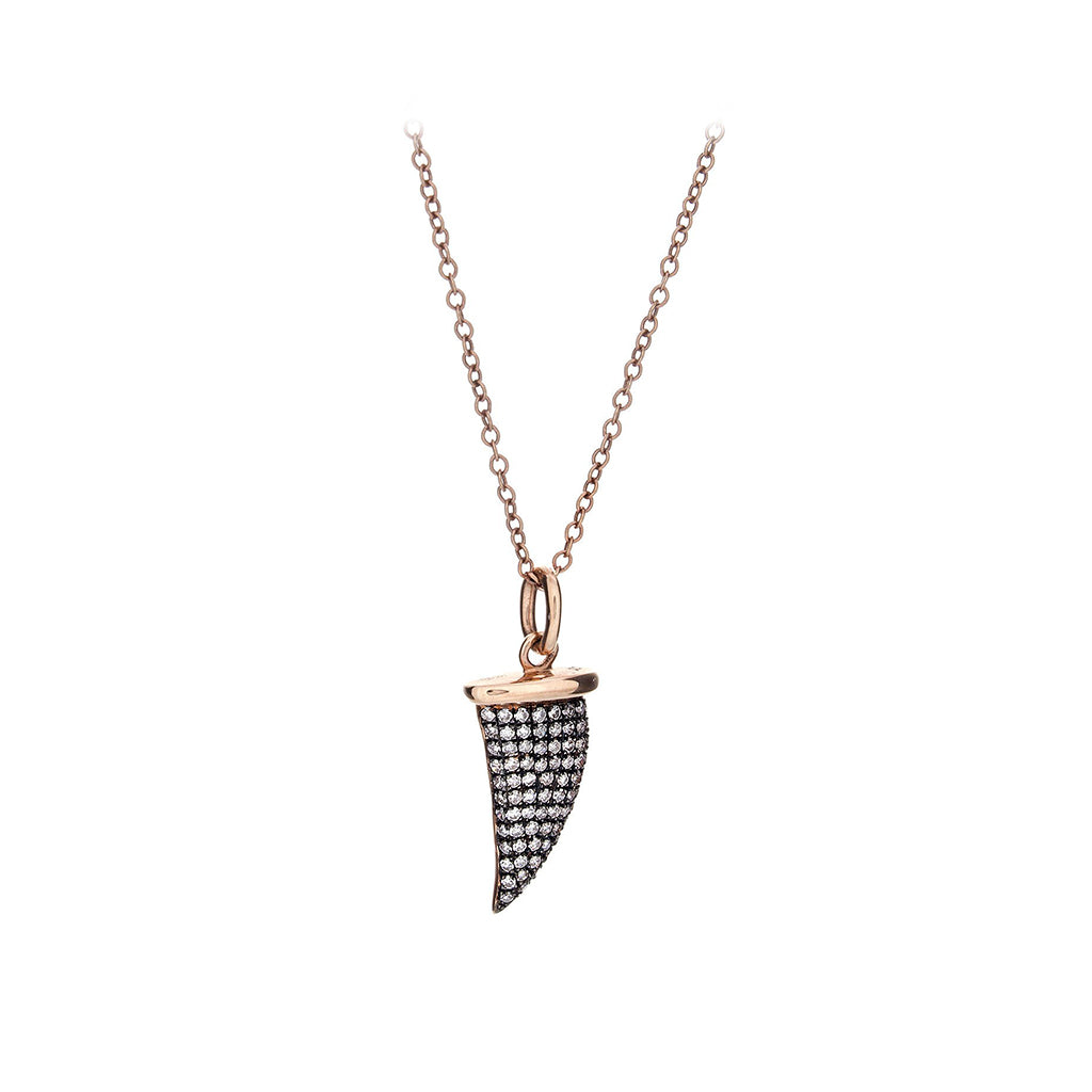 Diamond Encrusted Shark Tooth & 14K Rose Gold Necklace