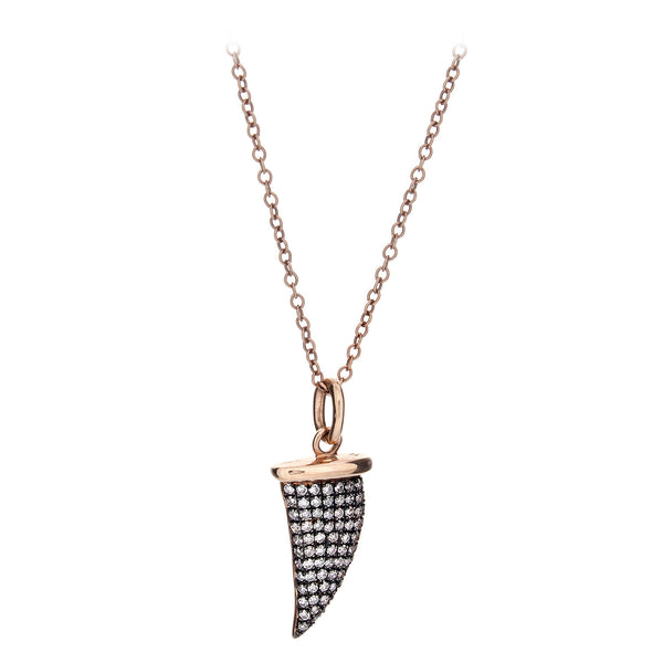 Diamond Encrusted Shark Tooth Pendant & Chain