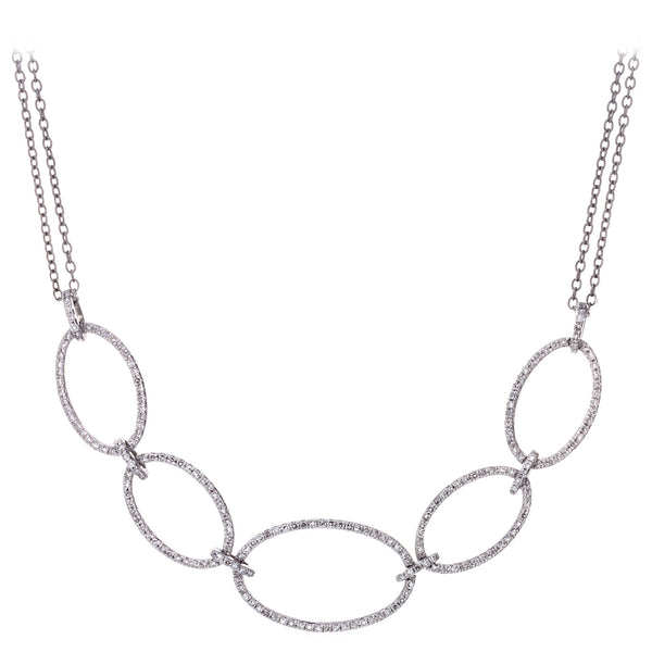 Diamond Five Interlocking Rings Necklace