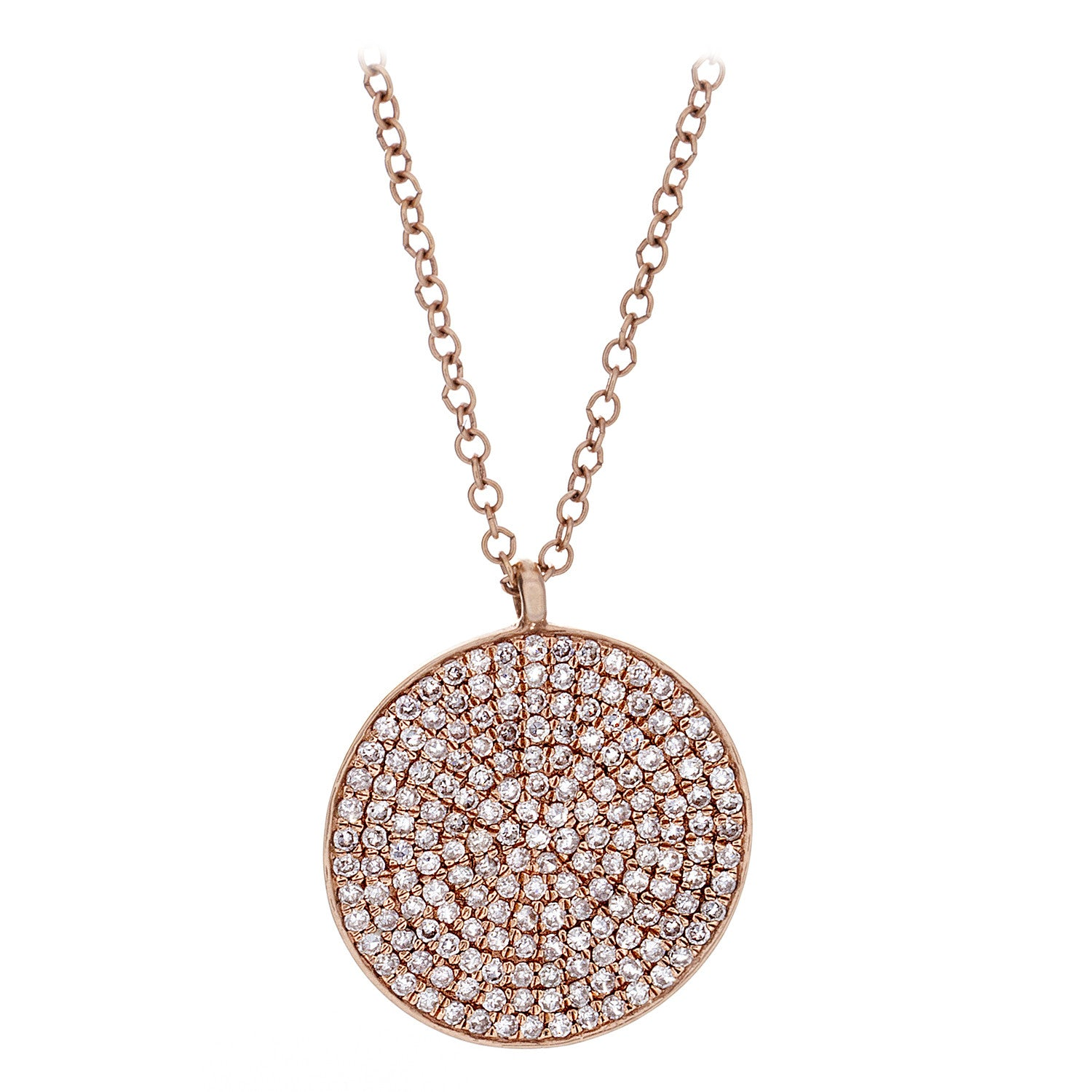 Diamond & 14K Rose Gold Shield Pendant & Chain