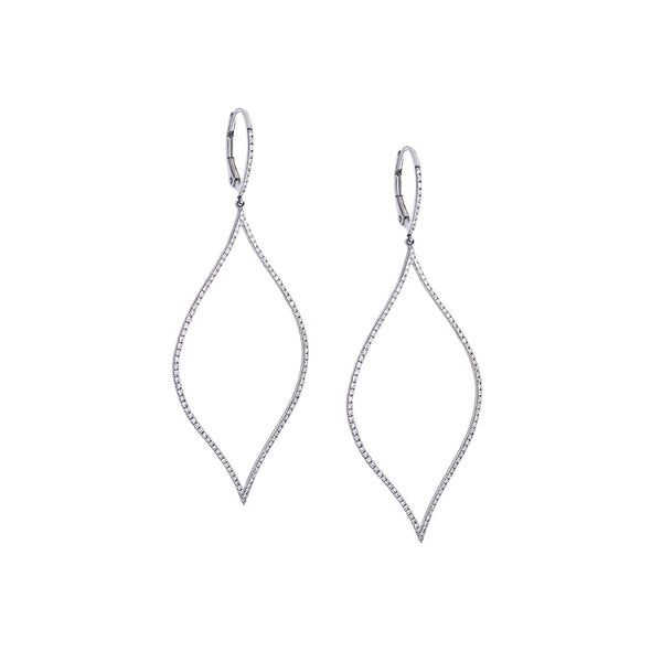 Diamond & 14K White Gold Teardrop Dangle Earrings - SOLD/CAN BE SPECIAL ORDERED WITH 4-6 WEEKS DELIVERY TIME FRAME