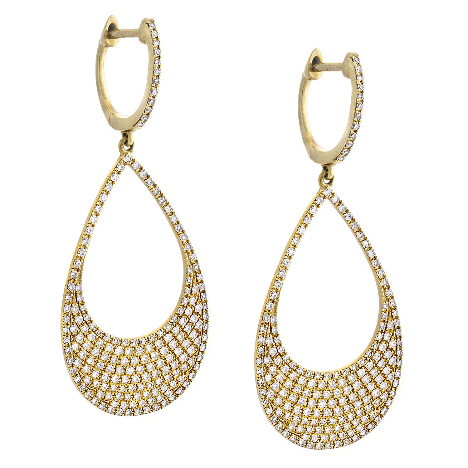 Diamond & 14K Yellow Gold Teardrop Dangle Earrings