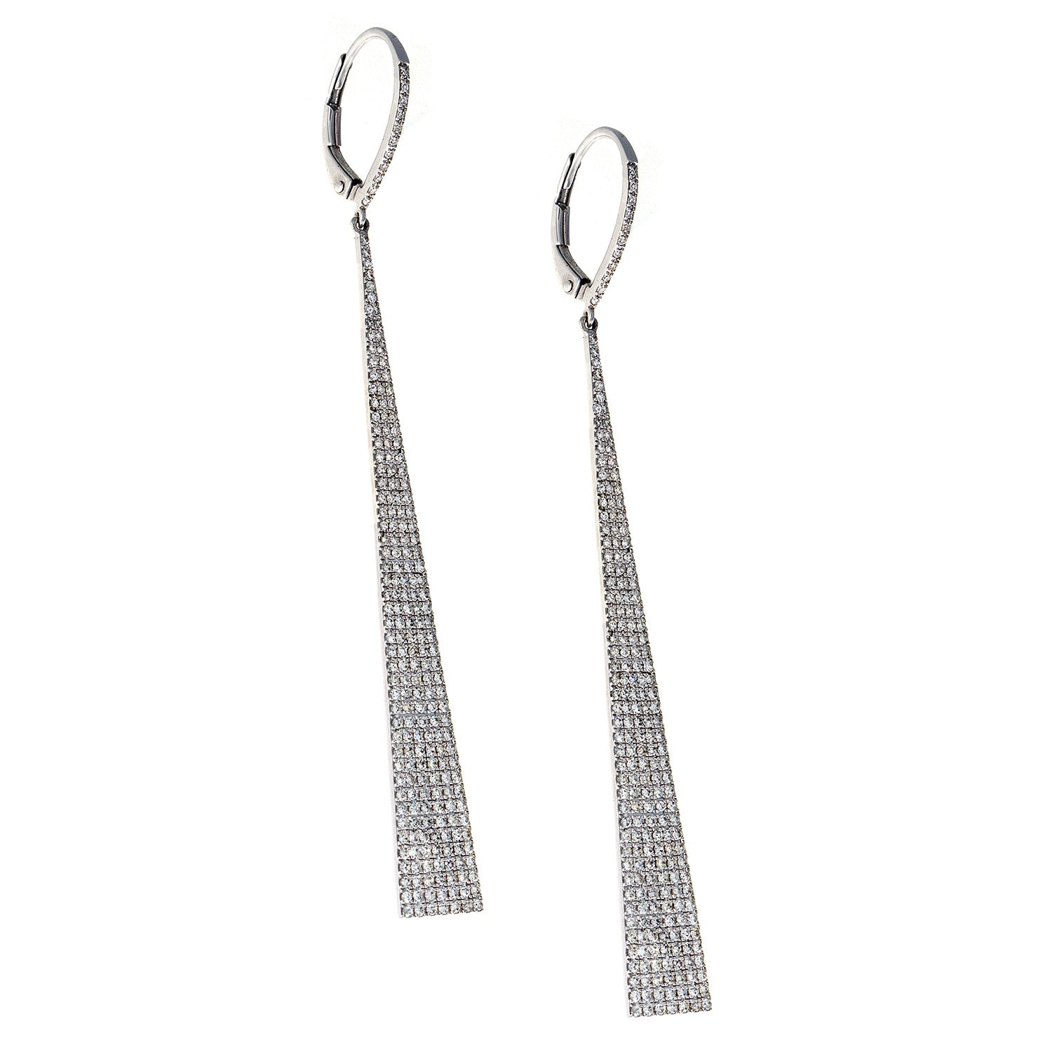 Diamond White Gold Triangle Earrings - SOLD