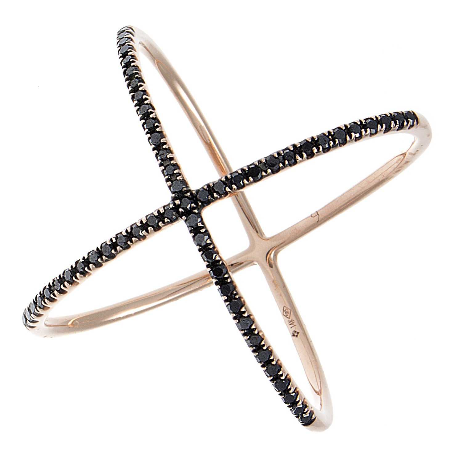 Black Pavé Diamond 14K Rose Gold Ring