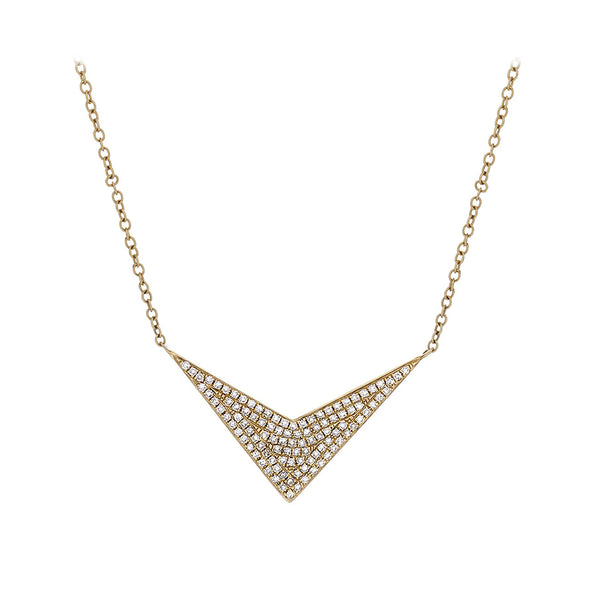 Diamond Pavé & 14K Yellow Gold Chevron Necklace - SOLD/CAN BE SPECIAL ORDERED WITH 4-6 WEEKS DELIVERY TIME FRAME
