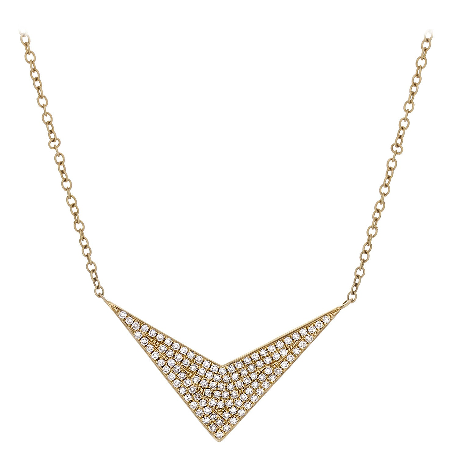 Diamond Pavé & 14K Yellow Gold Chevron Necklace