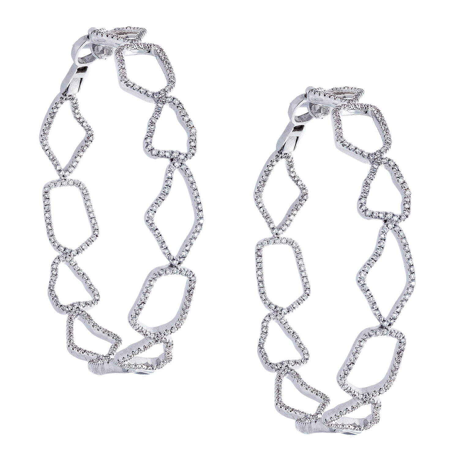 Diamond & 18K White Gold Hoop Earrings - SOLD/CAN BE SPECIAL ORDERED WITH 4-6 WEEKS DELIVERY TIME FRAME