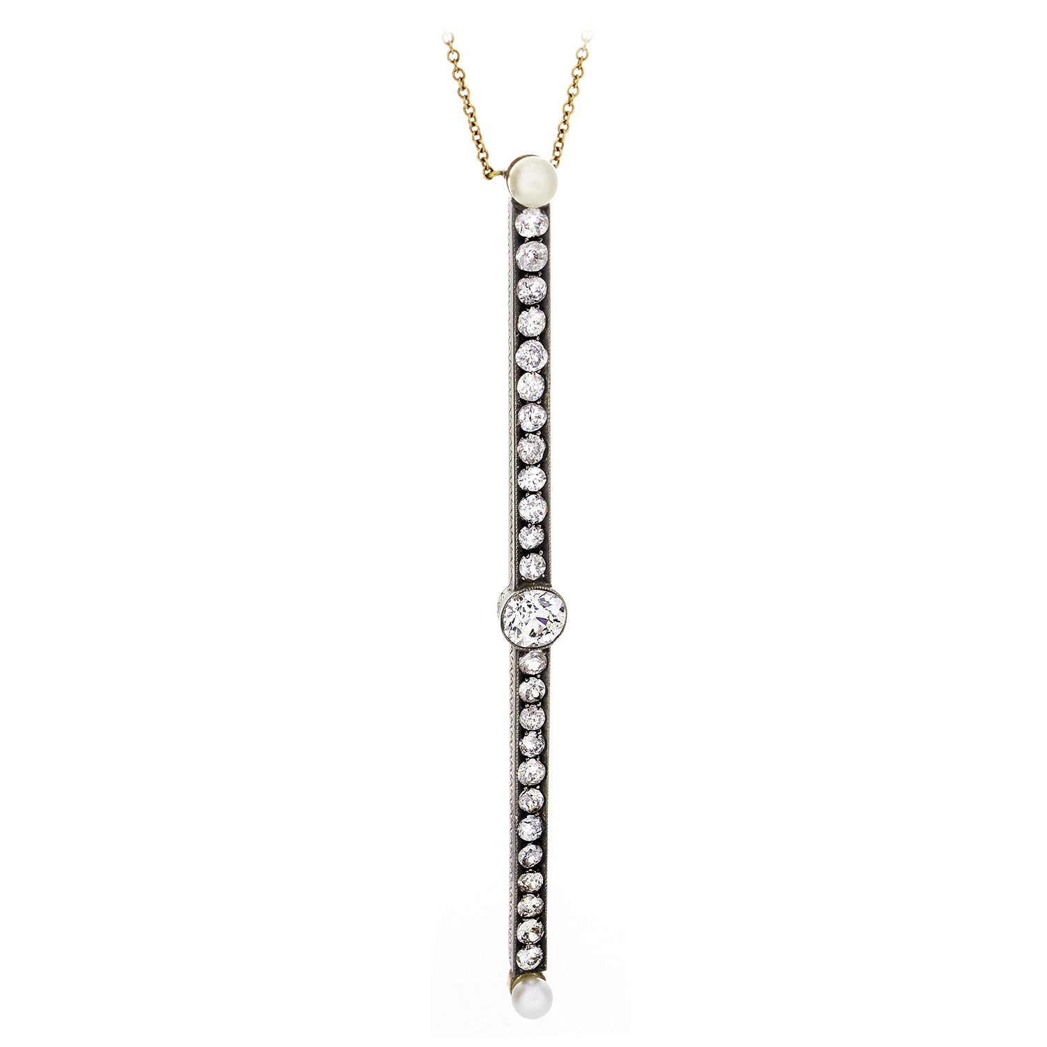 Diamond & Pearl Bar Necklace