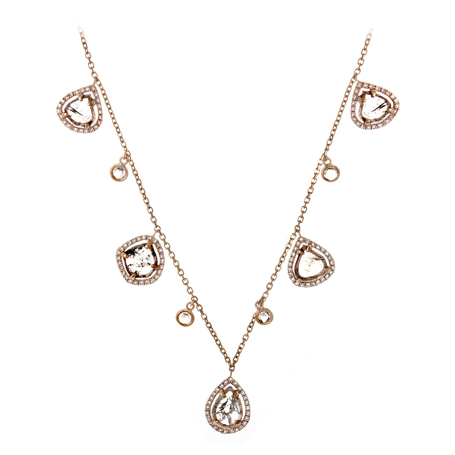 Diamond Slice, Pavé & 14K Rose Gold Scatter Chain Necklace