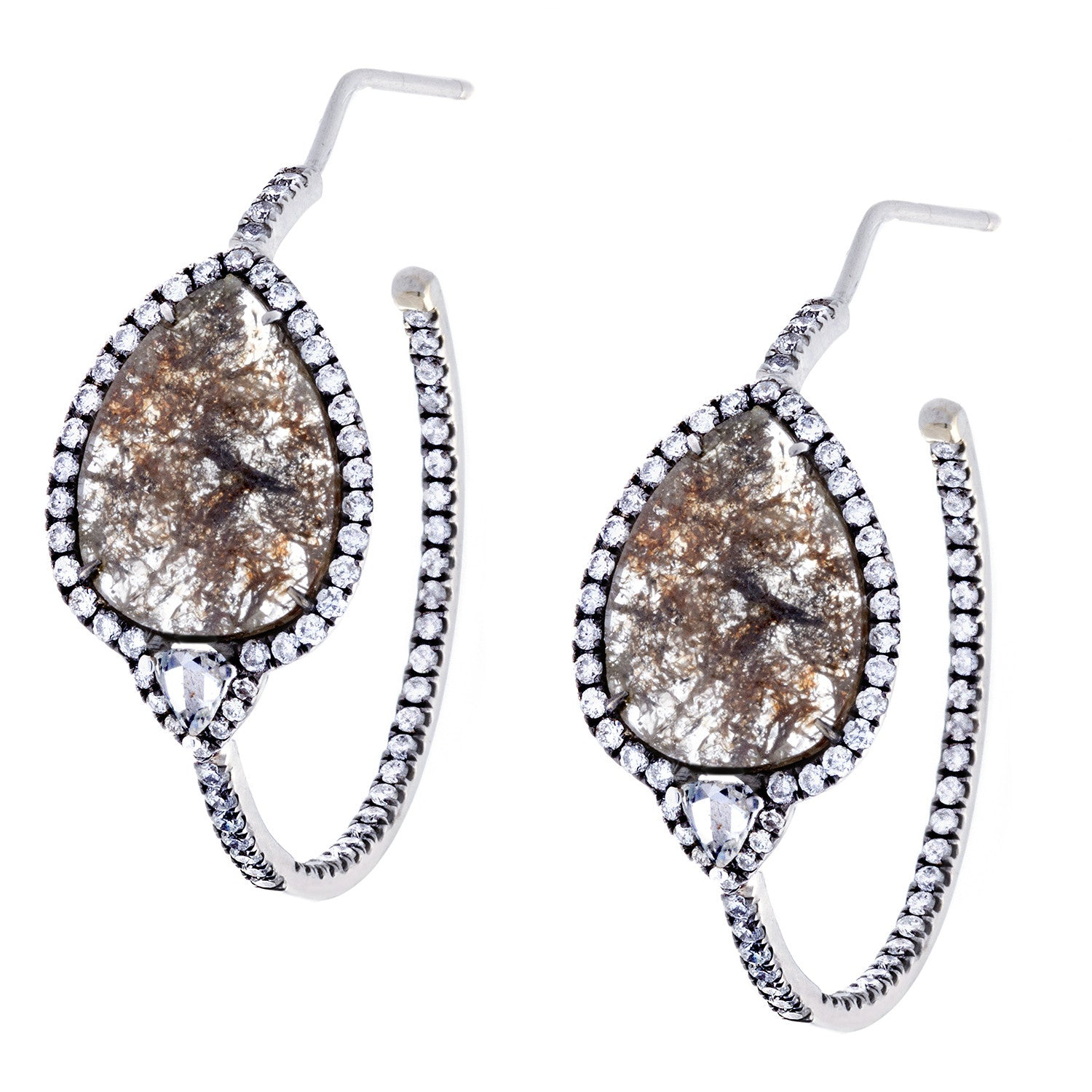 Diamonds & 18K White Gold Hoop Earrings