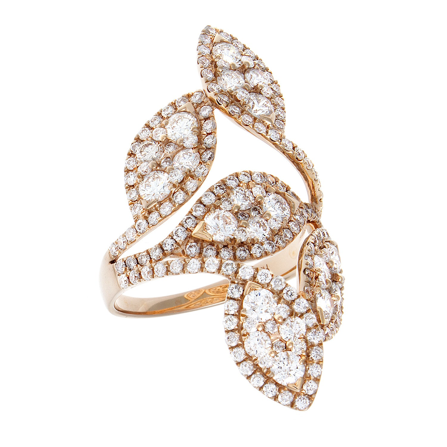 Diamond Leaf Teardrops & 14K Yellow Gold Ring