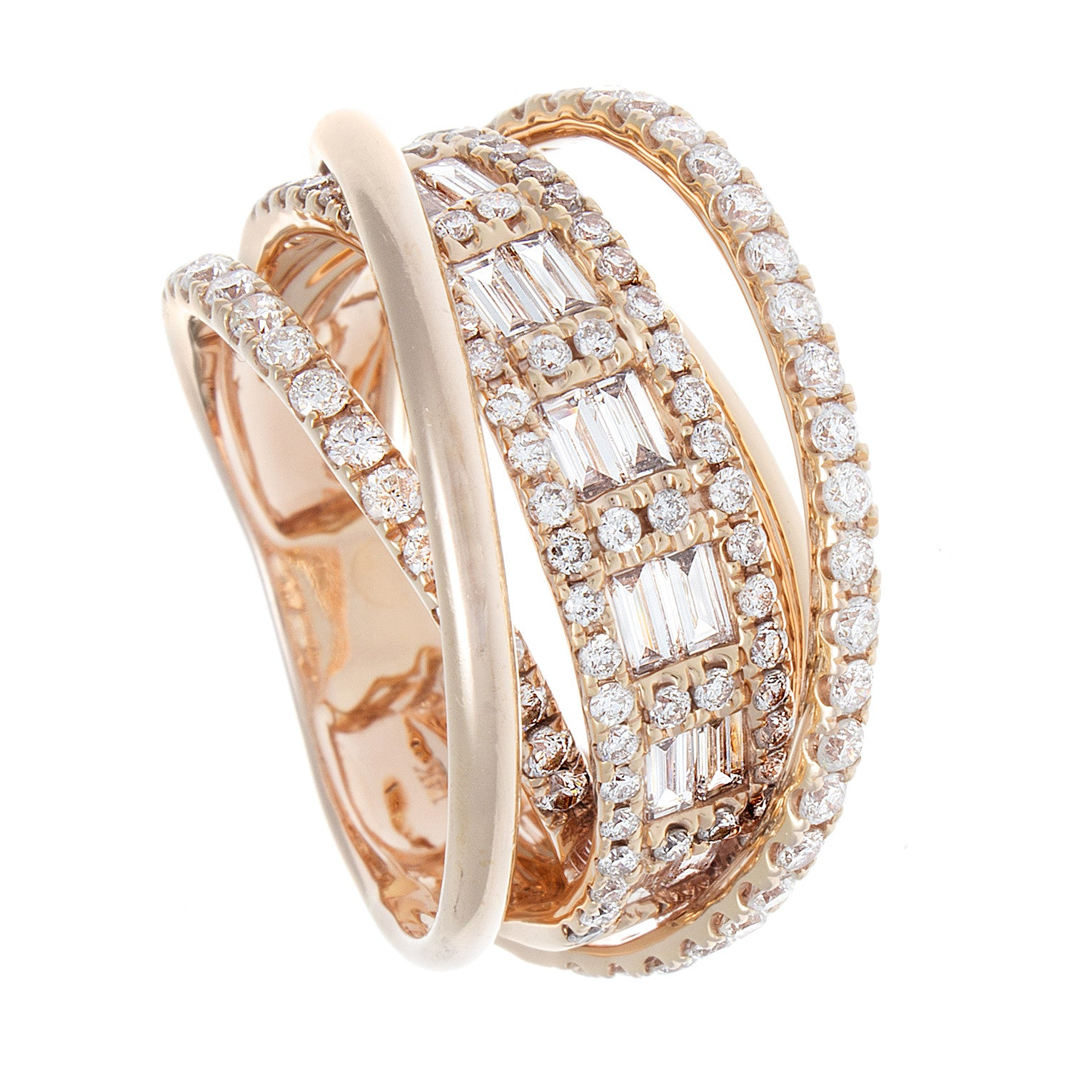 Diamond Baguette, Pavé & 18K Rose Gold Orbital Ring