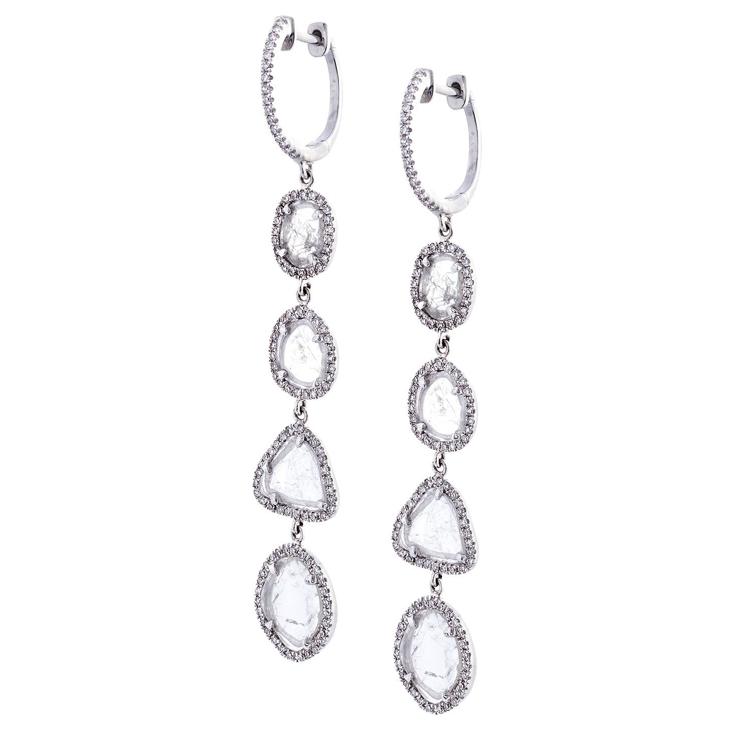 Diamonds & 14K White Gold Dangle Earrings