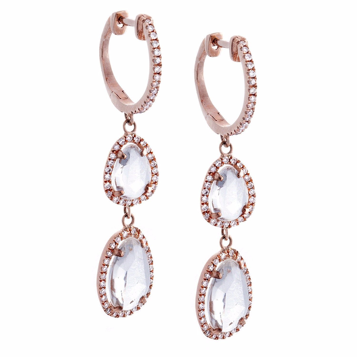 White Sapphire, Pavé Diamond & 14K Rose Gold Double Teardrop Earrings