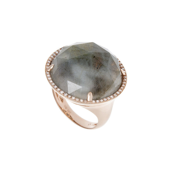 Diamond Labradorite Rose Gold Ring - SOLD/CAN BE SPECIAL ORDERED WITH 4-6 WEEKS DELIVERY TIME FRAME