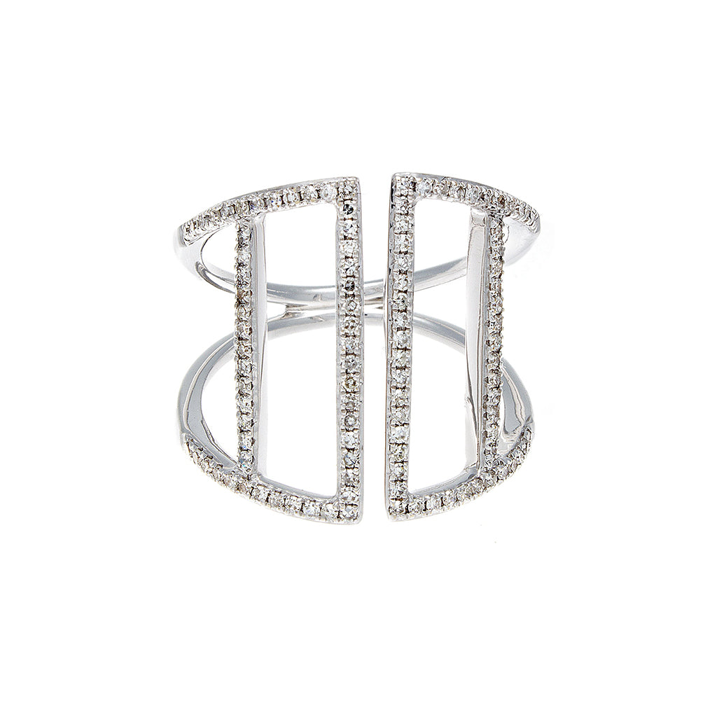 Diamond Pavé 4 Bar 14K White Gold Ring